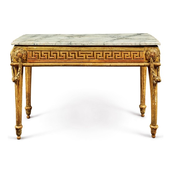 AN ITALIAN NEOCLASSICAL PARCEL-GILT AND GREY-PAINTED CONSOLE TABLE, CIRCA 1780