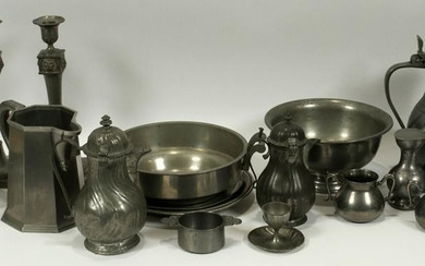 "ANTIQUE PEWTER TABLEWARE, 27 PCS, H 1""-12"""