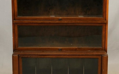 ART DECO 3-TIER MAHOGANY BARRISTER BOOKCASE
