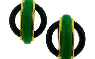 Aldo Cipullo Yellow Gold EARRINGS with Jade and Black
