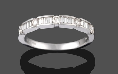 An 18 Carat White Gold Diamond Half Hoop Ring, five...