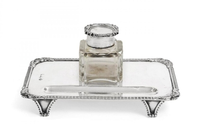 An Edward VII Silver Inkstand, The Base by C. H....