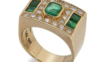 An emerald and diamond ring, the rectangular panel...
