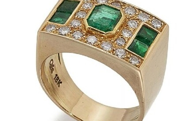 An emerald and diamond ring, the rectangular...