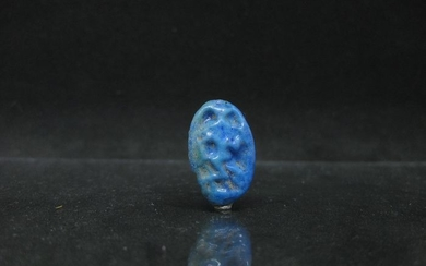 Ancient Egyptian Faience Ring Bezel with Dancing Bes from the Amarna Period