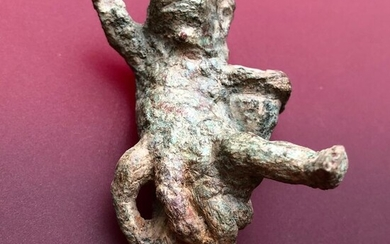 Ancient Roman Bronze Figurine of a Naked Boy wearing a Basket- An Extremely Rare Personification of Season.