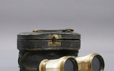 Antique Mother of Pearl Binoculars with Original Case