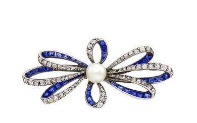 Antique Silver, Gold, Diamond, Sapphire and Pearl Bow Brooch