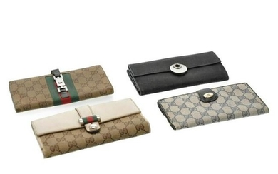 Authentic Gucci Gg Canvas Long Wallet Leather 4Set