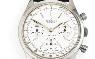 Breitling: A gentleman's wristwatch of steel. Model Top Time ''Decimal'', ref. 810. Mechanical chronograph movement with manual winding, cal. Venus 178. 1964.
