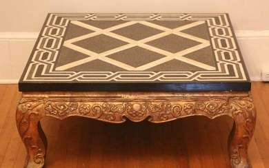 CAST IRON PARCEL GILT INLAID MARBLE TOP TABLE
