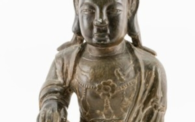 """CHINESE CARVED HARDSTONE FIGURE OF A DEITY In the form of a seated Buddha figure. Most likely steatite. Height 16""""."""