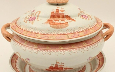 CHINESE EXPORT FITZHUGH TUREEN WITH UNDERPLATE