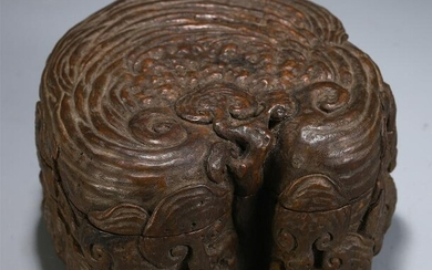 CHINESE WOOD CARVED LIDDED BOX