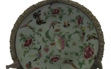 Chinese Celadon Porcelain, Enamel and Bronze Plate.