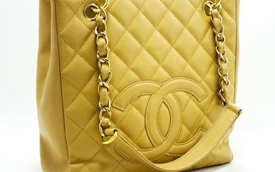 Chanel - Caviar Chain Shopping Beige Quilted Shopper bag