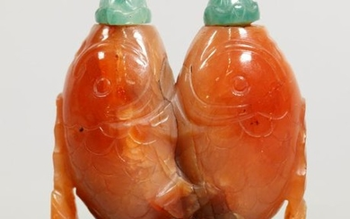Chinese Carnelian Twin Carp Double Snuff Bottle