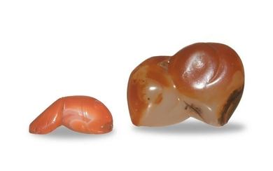Chinese Carved Agate Peach and Fish, 18th Century