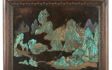 Chinese Kingfisher Feather and Zitan Landscape