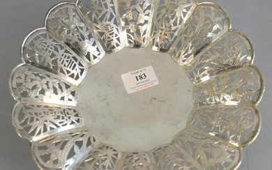 Chinese Export silver reticulated bowl having