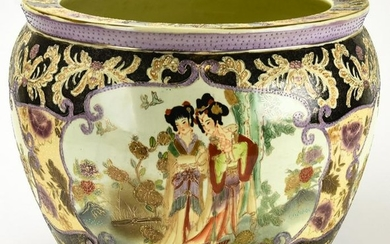 Chinese Hand Painted Porcelain Fish Bowl Planter