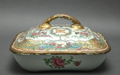 Chinese Rose Medallion Covered Dish, 19th C.