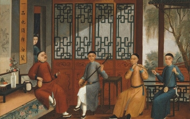 Chinese School, 19th Century, Chinese musicians performing on the terrace of a lakeside pavilion