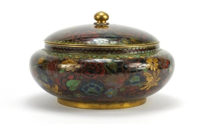 Chinese cloisonne pot and cover enamelled with flower
