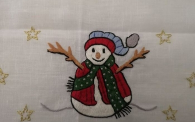 Christmas tablecloth x12 in pure linen with hand stitched embroidery - 175 x 270 cm - Linen - 21st century