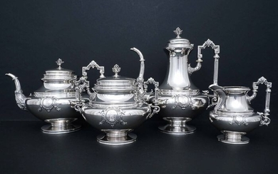 Coffee and tea service (4) - .950 silver - Flamand & Fils (active 1880 - 1891) - France - Late 19th century