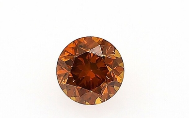 An unmounted brilliant-cut diamond weighing 0.29 ct. Colour Natural Fancy Deep Orange. Clarity SI1. –...