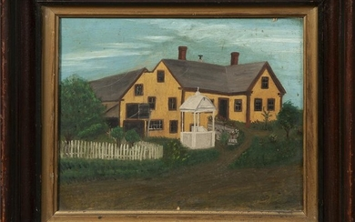 """Continental School, """"Road Past a Yellow House,"""" early"""