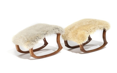 Danish furniture design: Two almost identical stools with stained beech runner frame, seat upholstered with light lambskin. Made by Slagelse Møbelværk. (2)