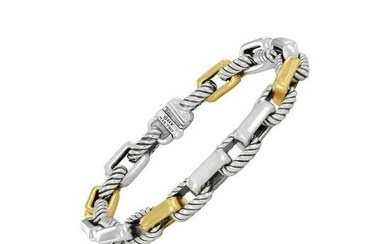 David Yurman Rare Link Silver and 18 Karat Gold