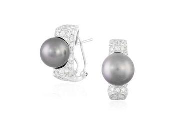 Description A PAIR OF CULTURED PEARL AND DIAMOND EARRINGS...
