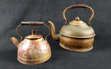 Early to Mid 1800s ROME Antique Pewter Lined Copper Tea