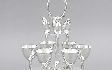 Eggcup set, England, 20th century, plated, oval stand...