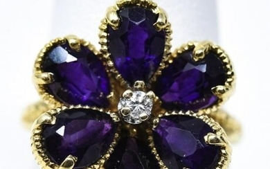 Estate 14kt Gold Diamond Gem Quality Amethyst Ring