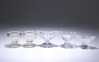 FIVE GEORGE III AND LATER CUT-GLASS SALTS, comprising a