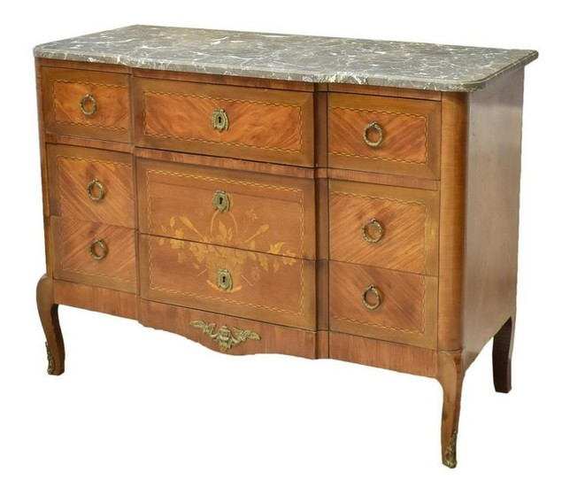 FRENCH LOUIS XVI STYLE MARBLE-TOP MAHOGANY COMMODE