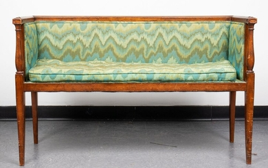 Federal Style Flame-Stitch Upholstered Hall Bench