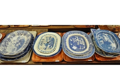 Four trays of 19th Century blue and white transfer printed W...