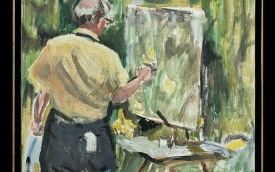 Framed Signed Painting of William Draper at Easel, 1976