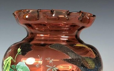 French Enameled Cranberry Pitcher