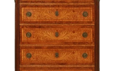 French Marquetry Tall Dresser with Marble Top
