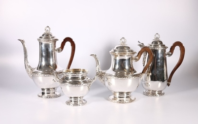 French silver metal (untested) four piece tea set, bust of M...