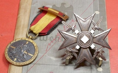 Germany - Flak / Air Force / Legion Condor / Spain Civil War / LC - Estate Spain Cross in Silver of Fw Hölzer Leicht Flak-Abt. 85