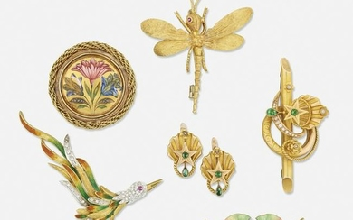 Group of gold brooches and earrings