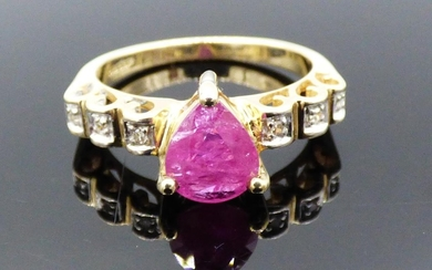 Hallmarked Birmingham Gold 375 Ruby and Diamond Ring (Size N...