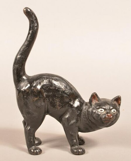 Hubley Cast Iron Arched Back Cat Doorstop.